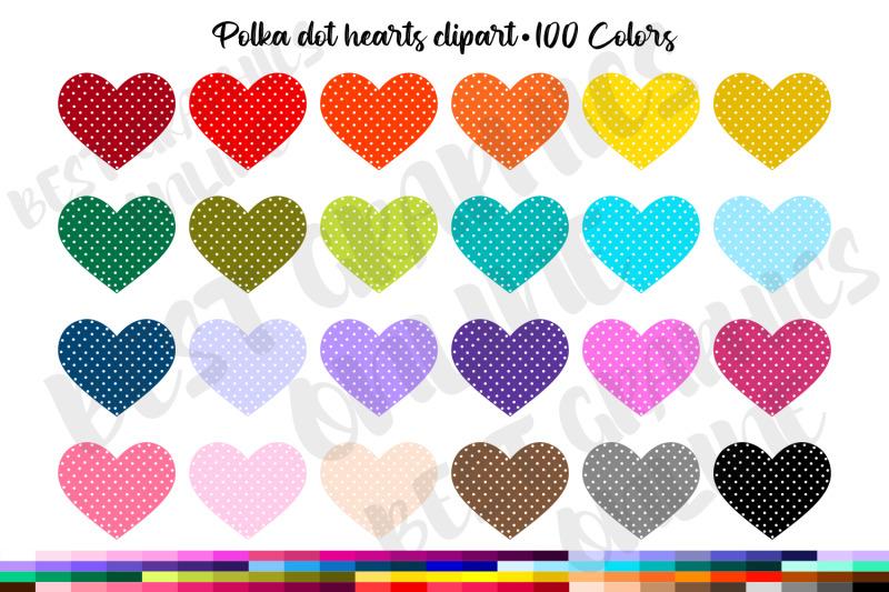 100-polka-dot-hearts-clipart-set