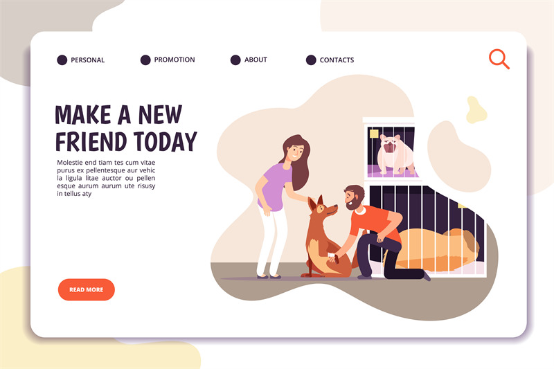 animal-shelter-concept-people-with-homeless-dog-pets-internet-landin