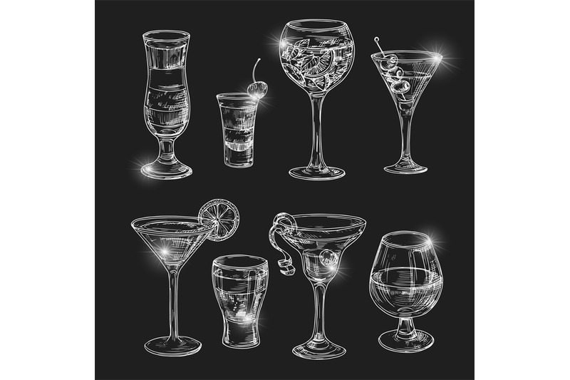 hand-dranw-alcoholic-cocktail-with-lights-vector-illustration