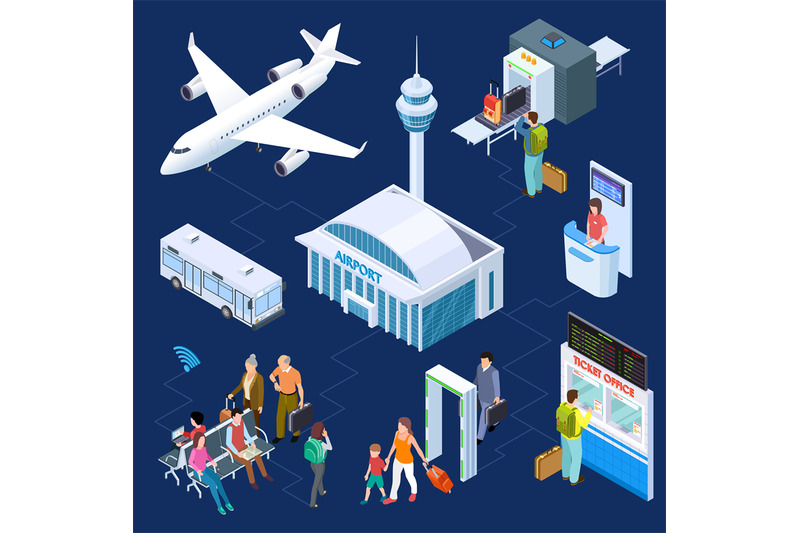 airport-isometric-vector-concept-passenger-luggage-airport-terminal
