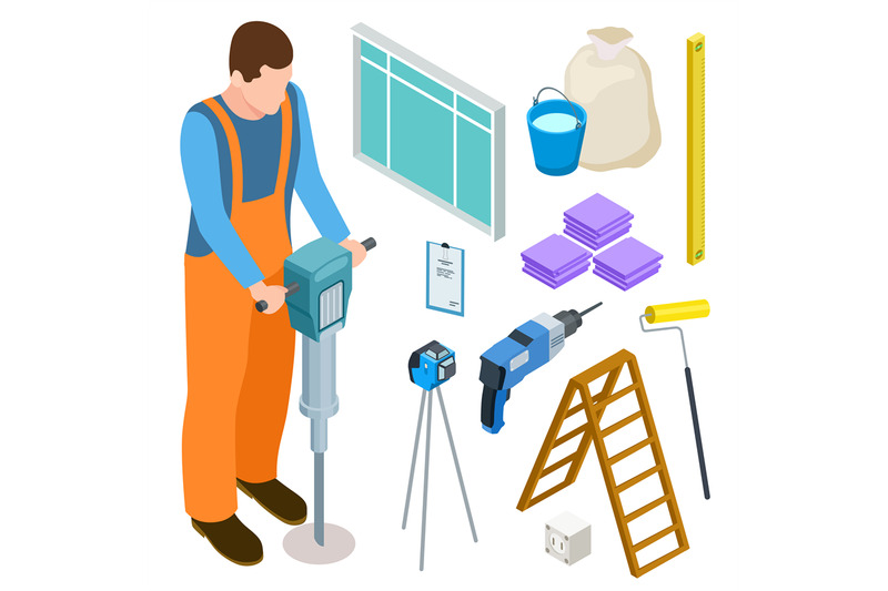 builder-and-construction-tools-isometric-vector-icons