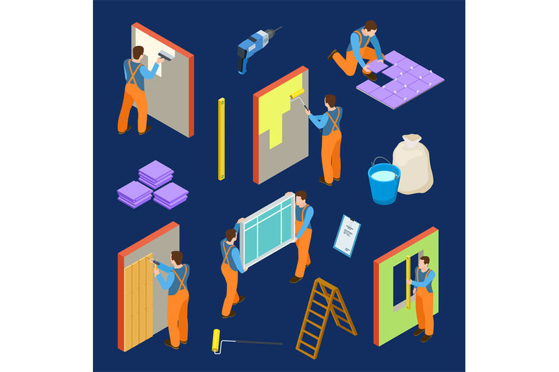 repair-workers-and-tools-isometric-vector-set