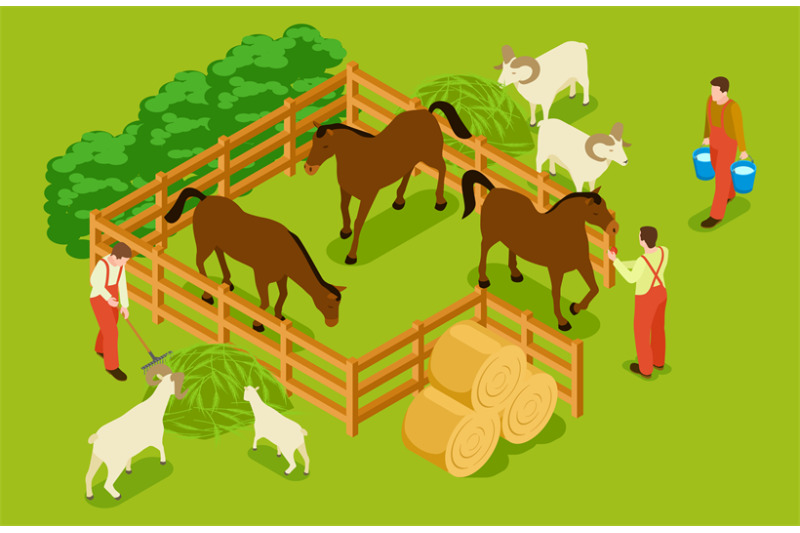 animal-farm-livestock-with-horses-goats-sheeps-and-workers-isometri