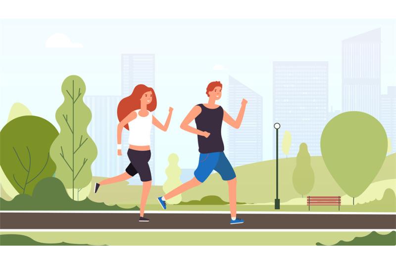 couple-running-happy-smiling-guys-jogging-together-outdoor-summer-par