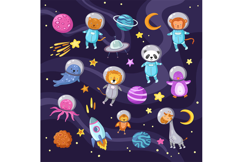 space-animals-cute-baby-animal-panda-cat-lion-giraffe-monkey-octopus
