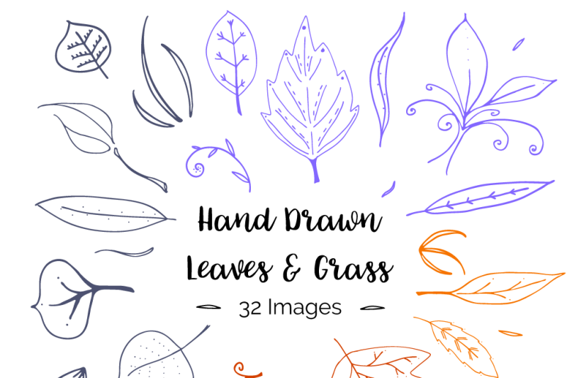hand-drawn-leaves-and-grass
