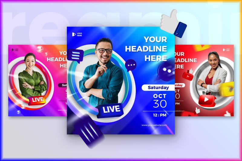 live-streaming-banner-social-media-post-template