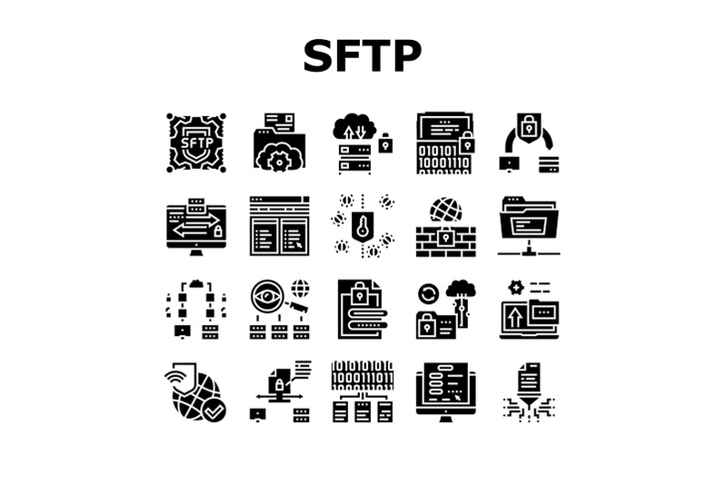 ssh-sftp-file-transfer-protocol-icons-set-vector