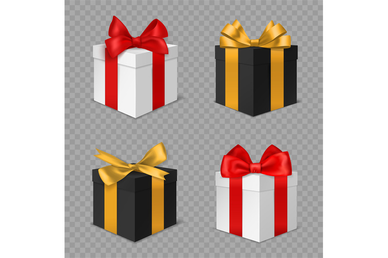 gift-box-with-bow-black-and-white-christmas-presents-with-red-and-gol