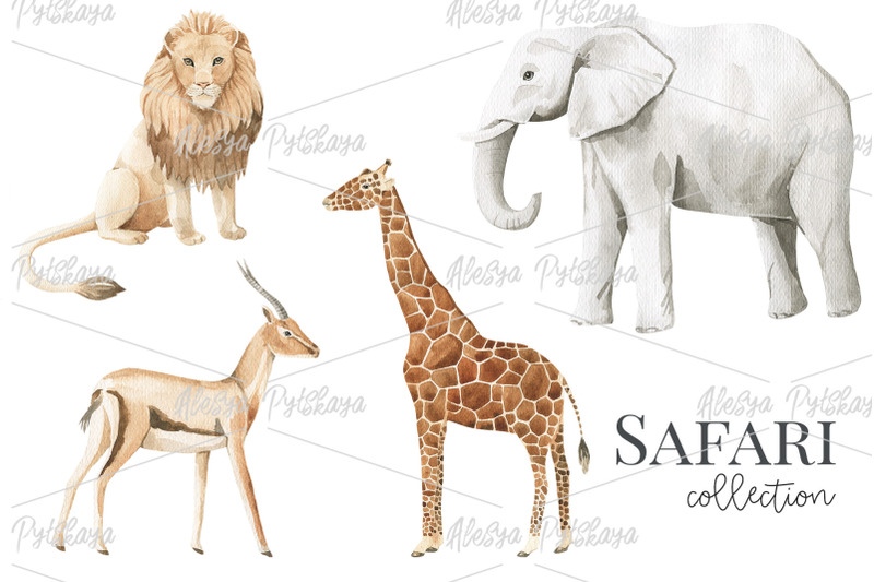 safary-animals-watercolor-set
