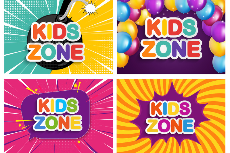 collection-of-nbsp-4-kids-zone-banner-for-children-game-party-posters
