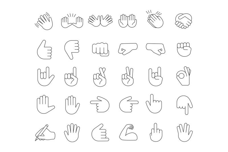 hand-gesture-emojis-linear-icons-set