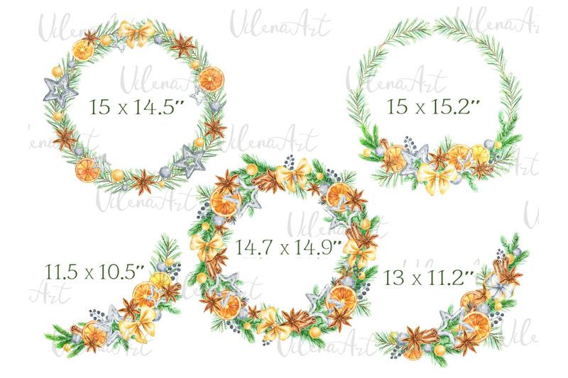 watercolor-christmas-clipart-oranges-citrus-winter-frame-cinnamon-wrea