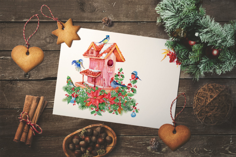 christmas-clipart-watercolor-illustrations-birdhouse-bouquets-in-cu