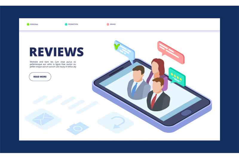 reviews-web-banner-template-feedback-landing-page-with-isometric-vect