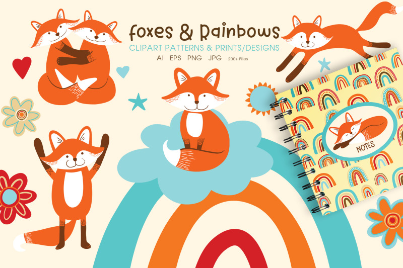 cute-foxes-and-rainbows-clipart-amp-prints-ai-eps-png