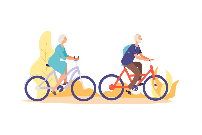 autumn-bike-ride-concept-flat-elderly-characters-riding-bicycles-vect