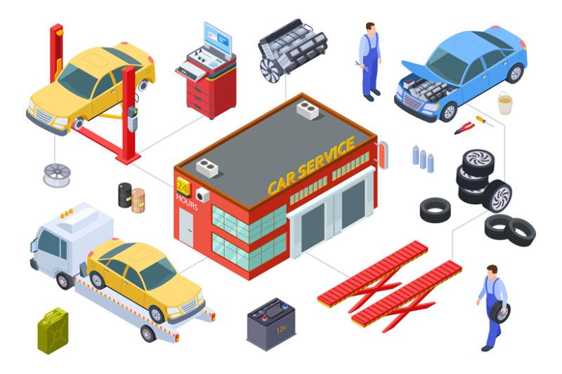 car-service-isometric-concept-vector-venicle-tire-service-illustrati
