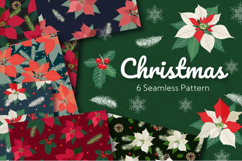 christmas-poinsettia-seamless-pattern