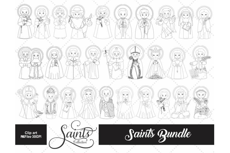 saints-collection-digital-stamp-bundle-black-line-images
