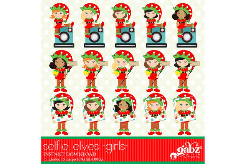 selfie-elves-elves-kids-clipart-girls-holidays