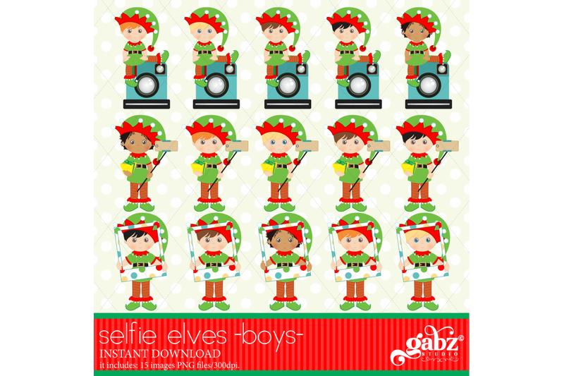 selfie-elves-elves-kids-clipart-boys-holidays-elves