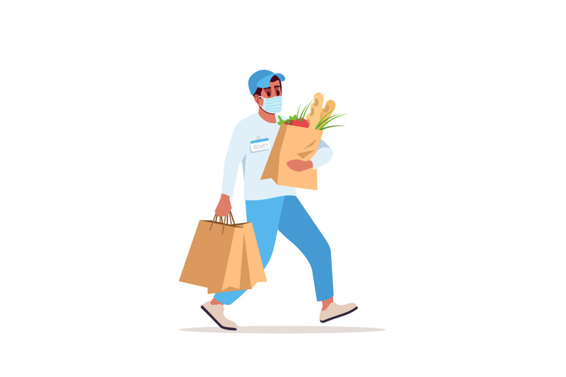 delivery-boy-in-surgical-mask-semi-flat-rgb-color-vector-illustration