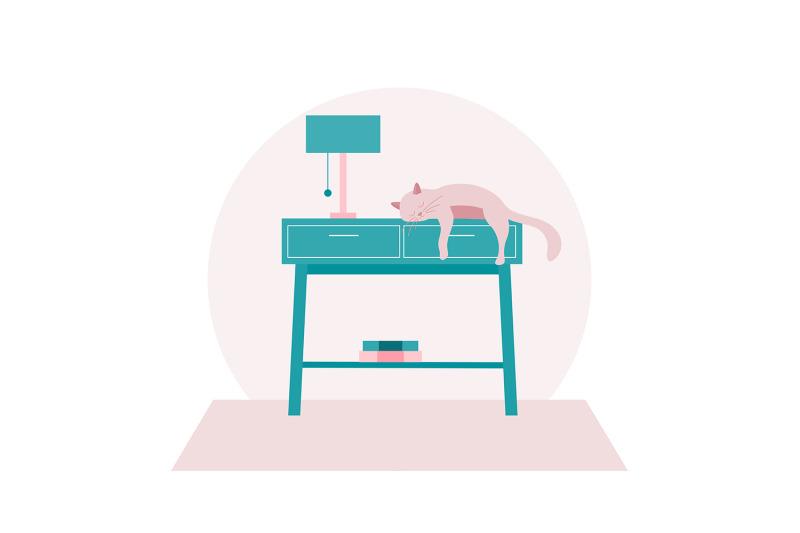cute-cat-sleeping-on-a-table-illustration