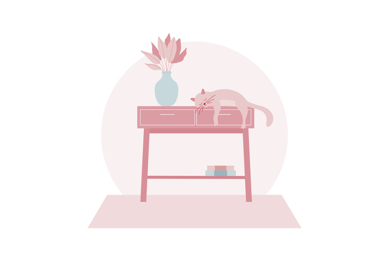 cute-cat-sleeping-on-a-table-illustration