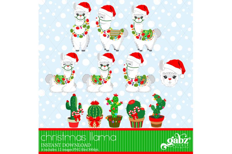 christmas-llama-white-llama-cactus-colorful-llama