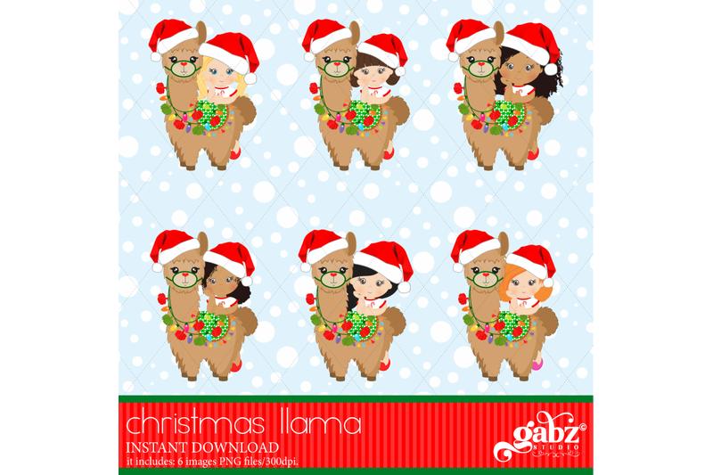 christmas-llama-christmas-girl-and-brown-llama-colorful-llama