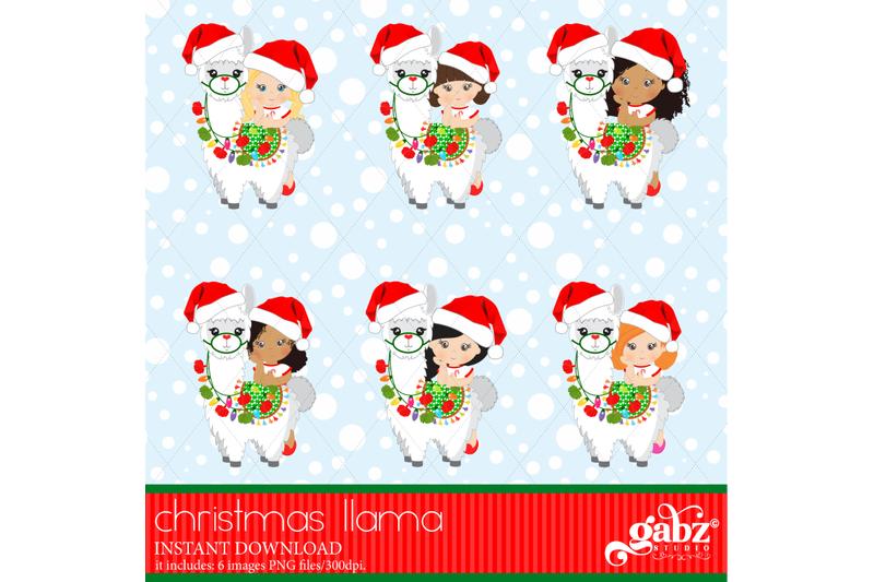christmas-llama-christmas-girl-and-white-llama-colorful-llama