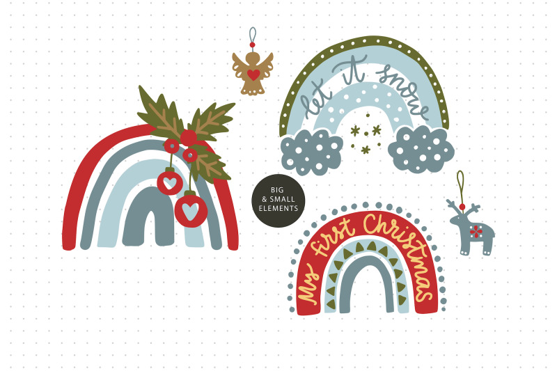 christmas-rainbow-set-eps-svg-png