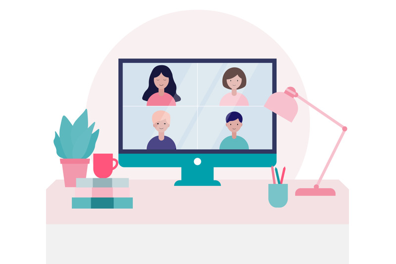 group-of-people-doing-a-video-conference-call-illustration