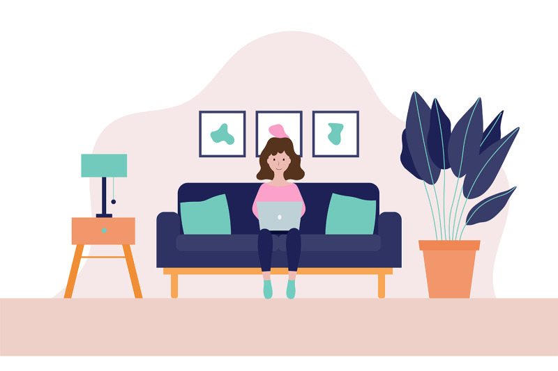 young-woman-working-on-a-laptop-at-her-home-illustration