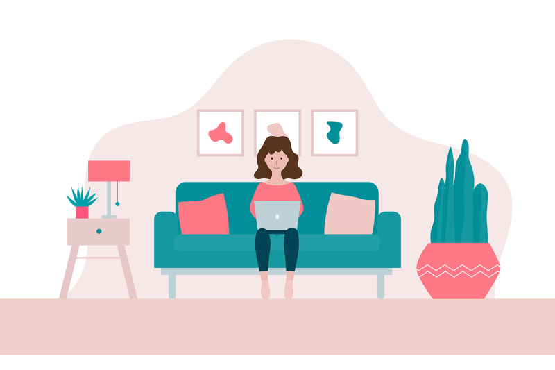young-woman-working-on-laptop-at-her-home-illustration