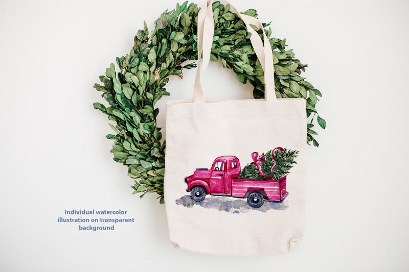 watercolor-christmas-truck