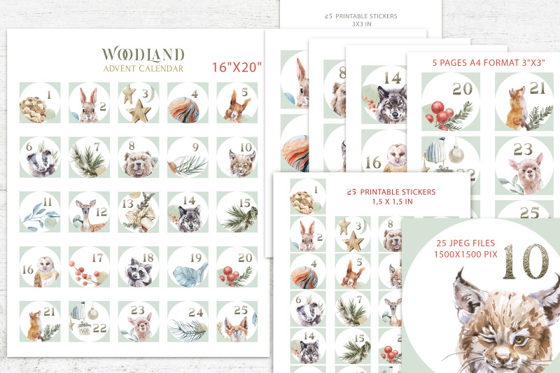 christmas-watercolor-woodland-advent-calendar-stickers-set