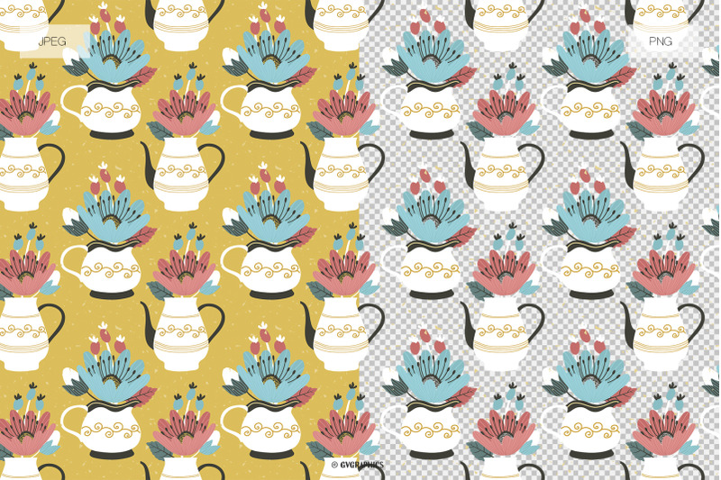 35-flowers-amp-teapots-seamless-patterns