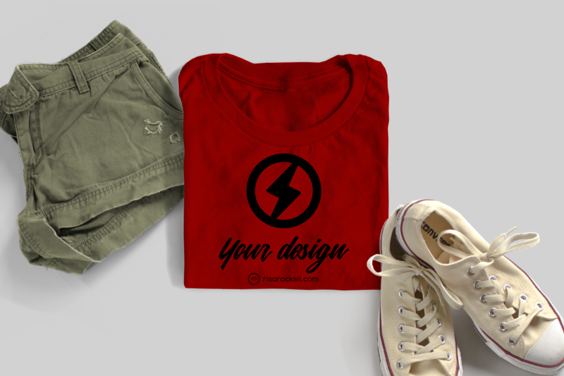 folded-tee-with-shorts-and-sneakers-png-mock-up