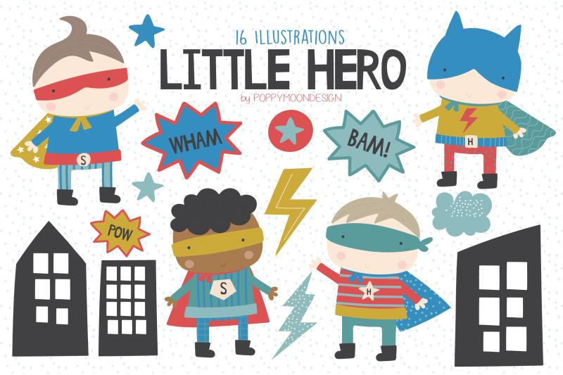 little-hero-clipart-set