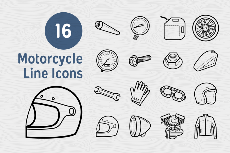 16-motorcycle-line-icons
