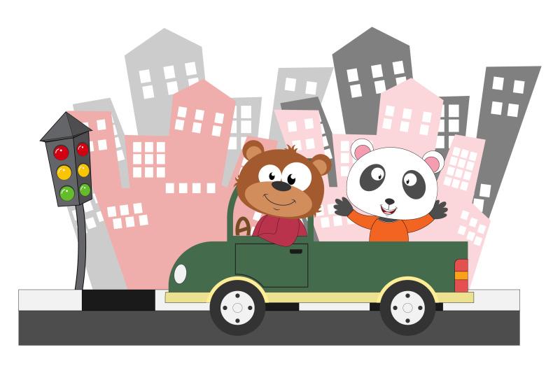 bear-and-panda-ride-a-car
