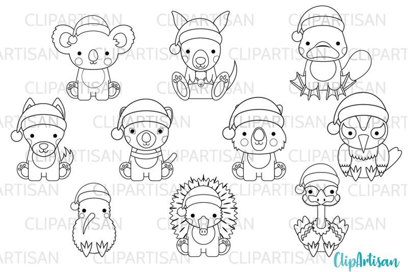 australian-animals-clip-art-kiwi-christmas-stamps