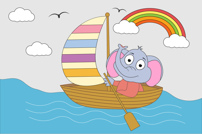 elephant-animal-cartoon-with-boat