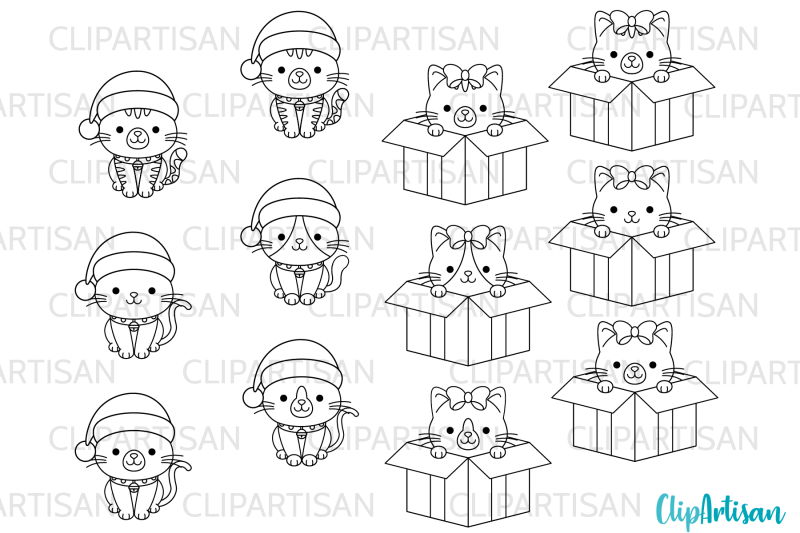 christmas-cats-clipart-merry-christmas-kittens-stamps