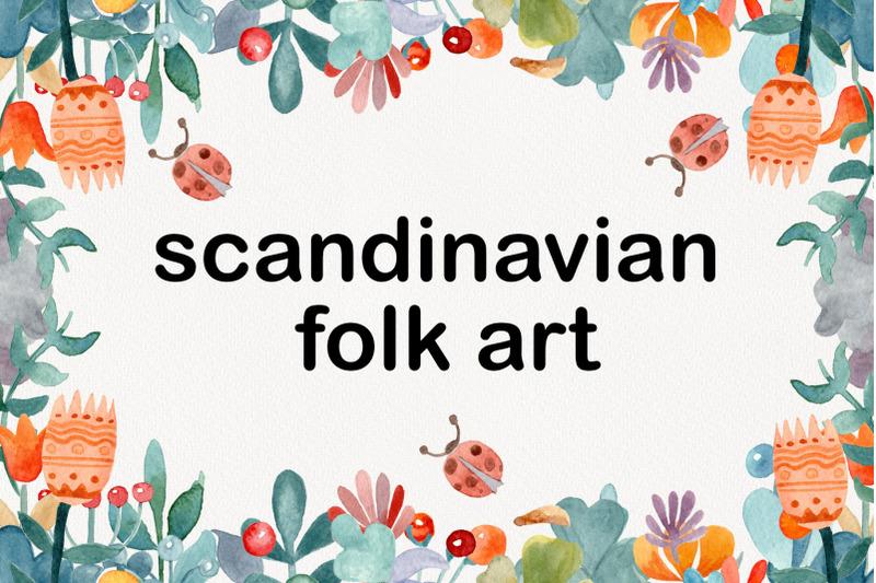 modern-watercolor-floral-clipart-scandinavian-folk-art