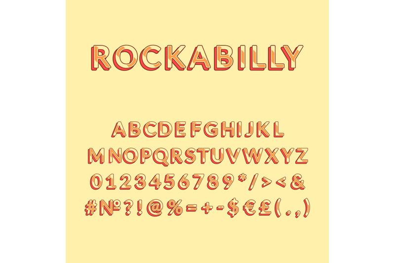 rockabilly-vintage-3d-vector-alphabet-set