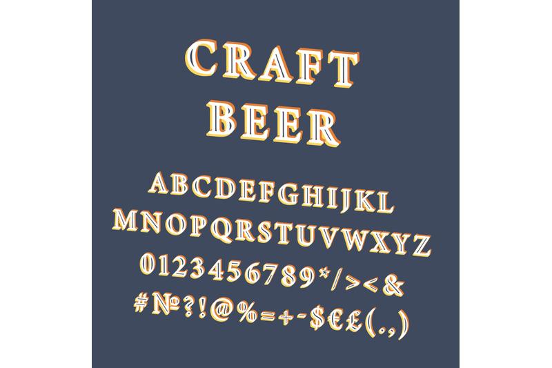 craft-beer-vintage-3d-vector-alphabet-set