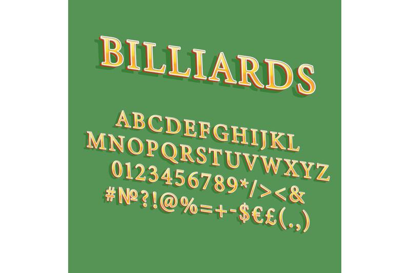 billiards-vintage-3d-vector-alphabet-set